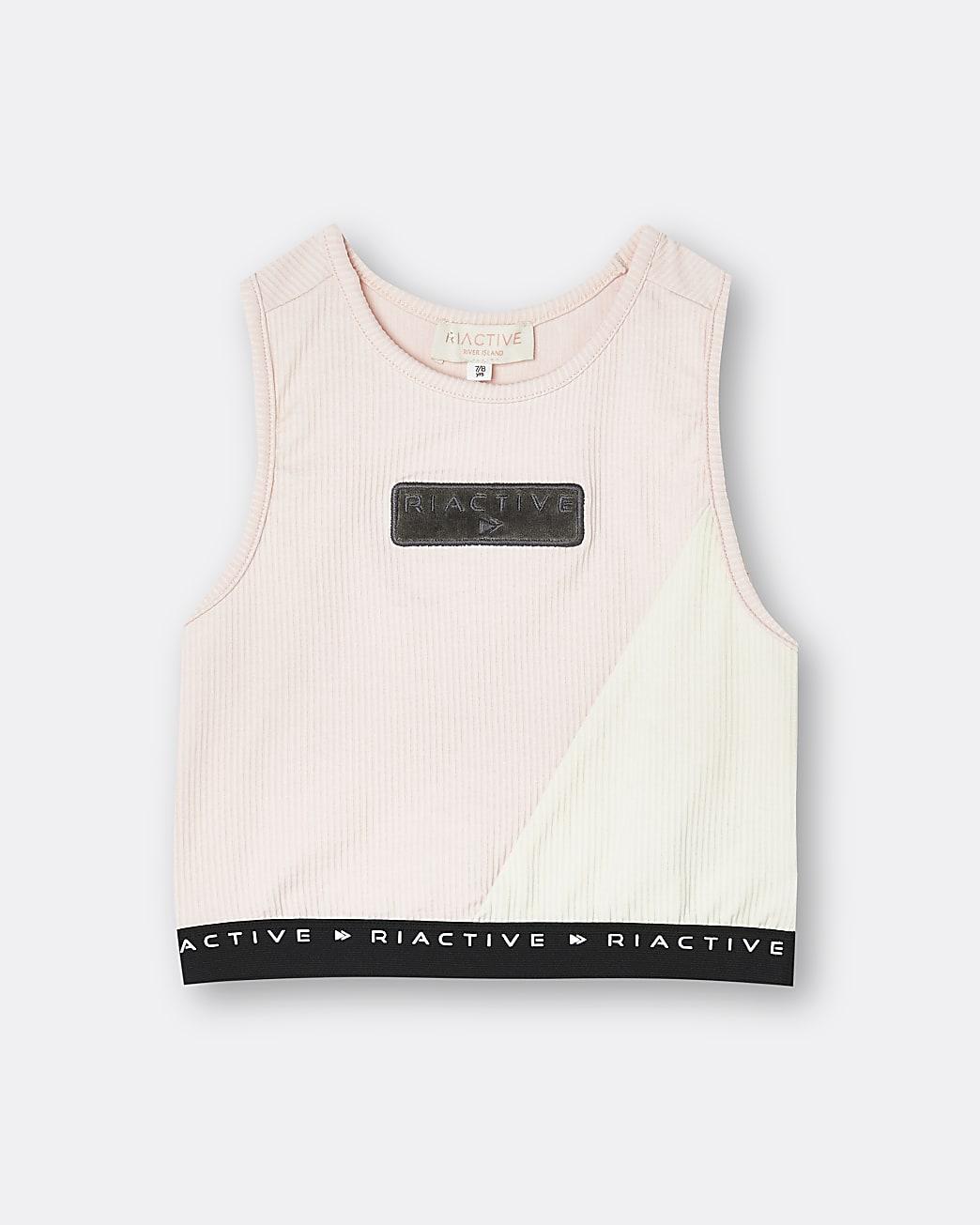 Girls pink RI Active colour block crop top