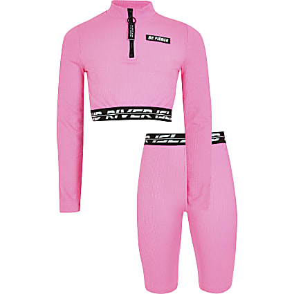 Girls pink RI Active crop top outfit