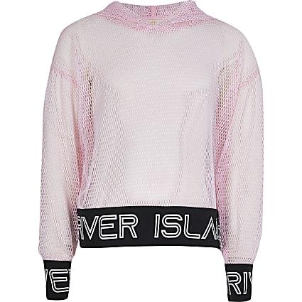 Girls pink RI Active mesh hoodie