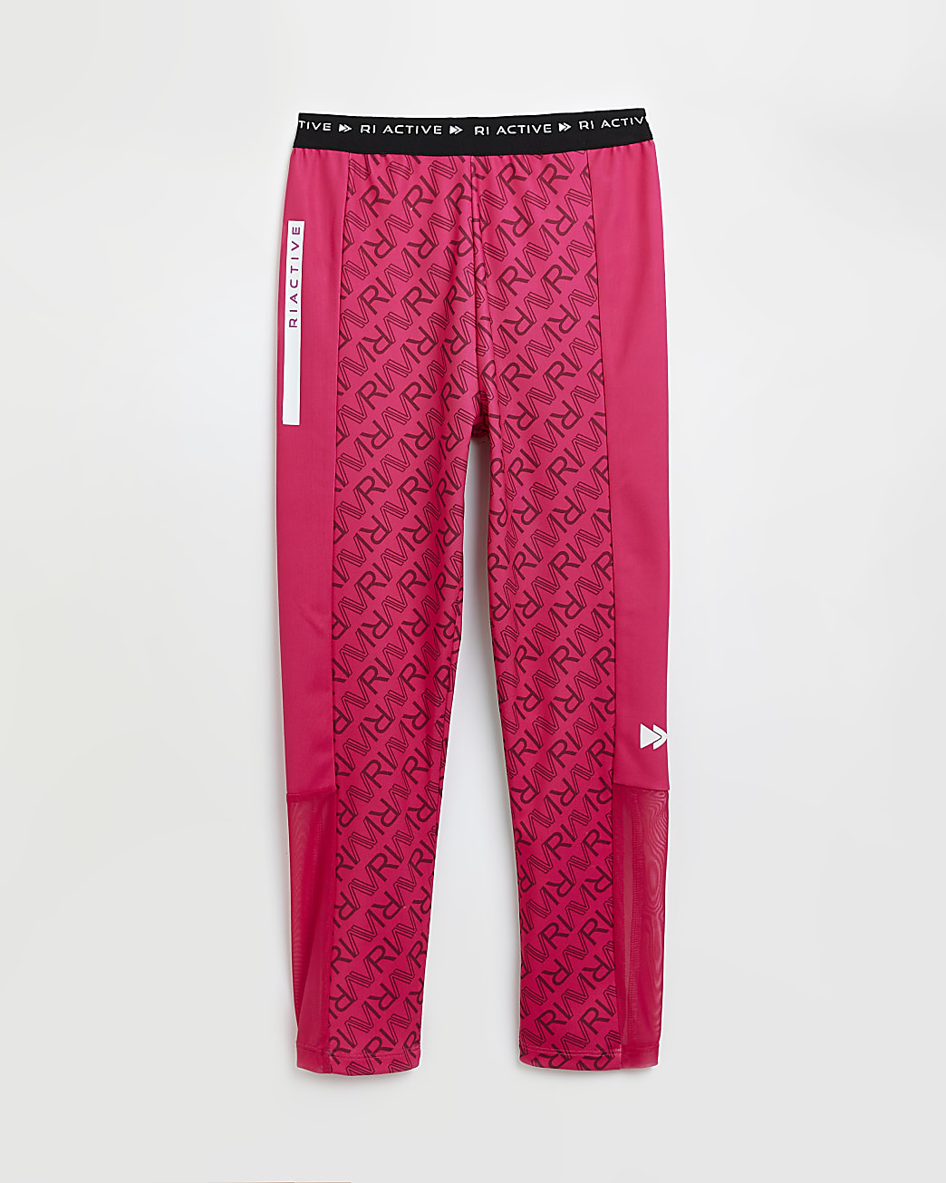 Girls pink RI Active monogram leggings