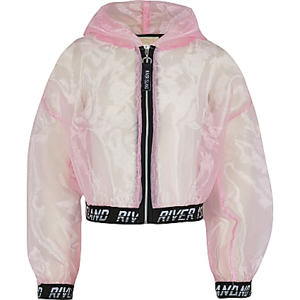 Girls pink RI Active organza bomber jacket