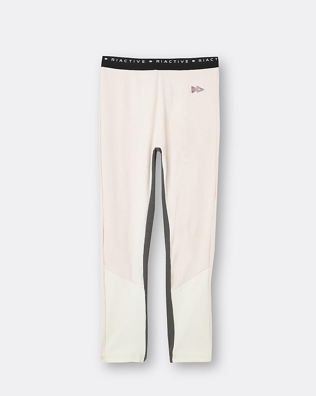Girls pink RI Active ribbed leggings