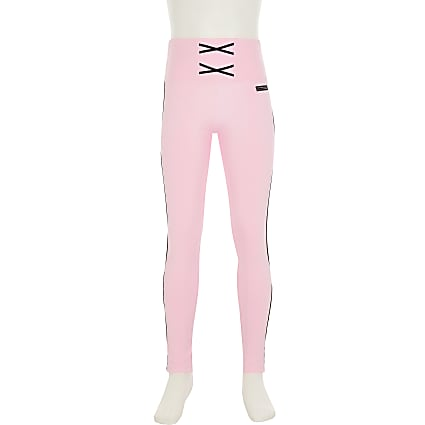Girls pink RI Active side taped legging