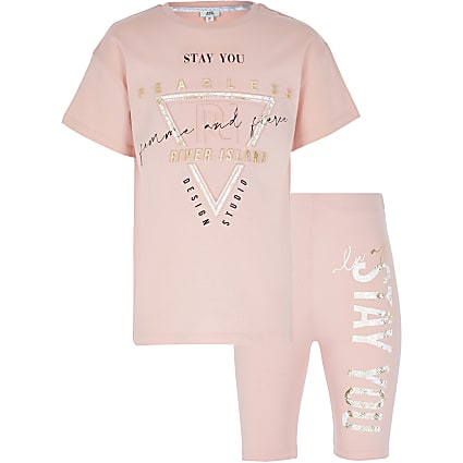 Girls pink RI Active t-shirt outfit