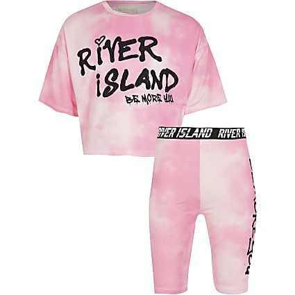 Girls pink RI Active tie dye t-shirt outfit