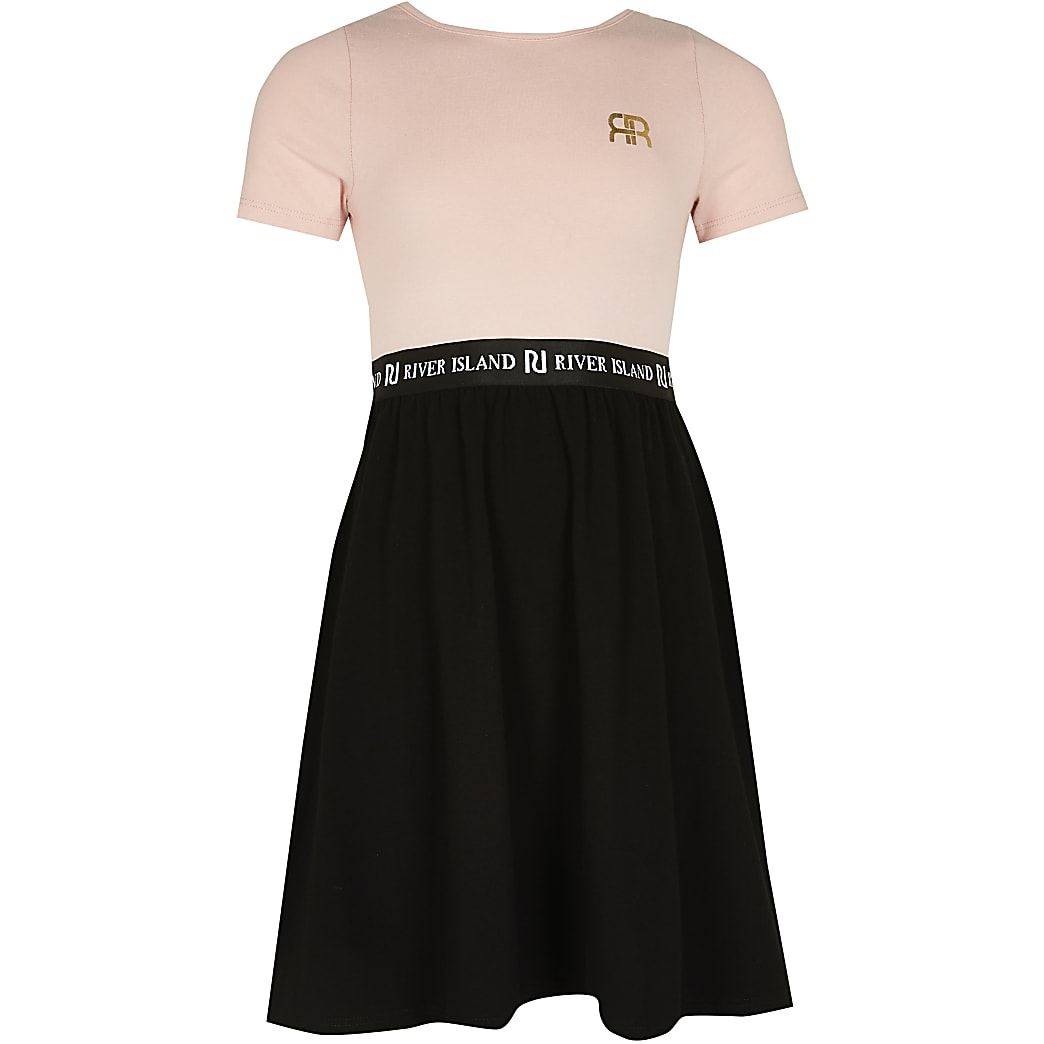 Girls pink RI back cross strap skater dress