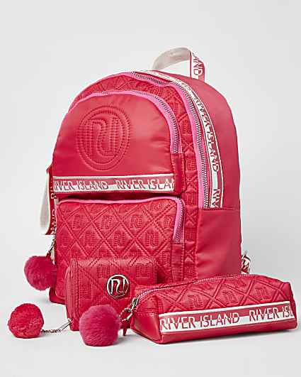 Girls pink RI backpack and pencil case