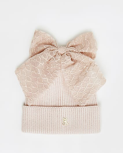 Girls pink RI bow beanie hat