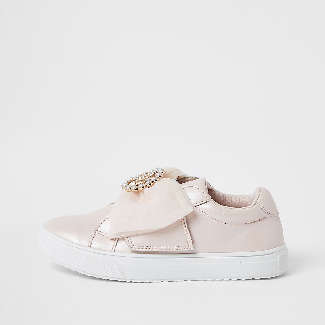 Girls pink RI bow trainers