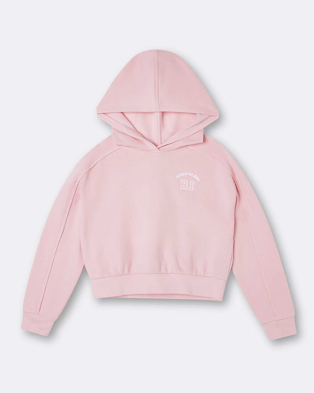 Girls pink RI chest embroidered hoodie