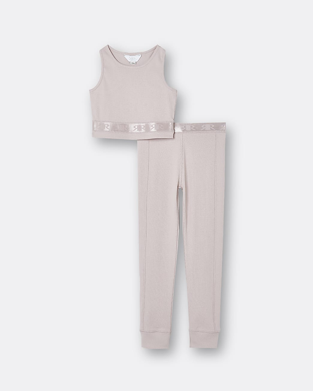 Girls pink RI crop top and leggings set