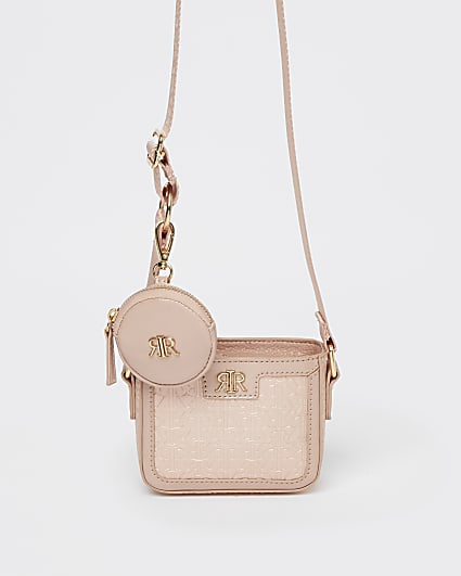 Girls pink RI cross body bag with purse