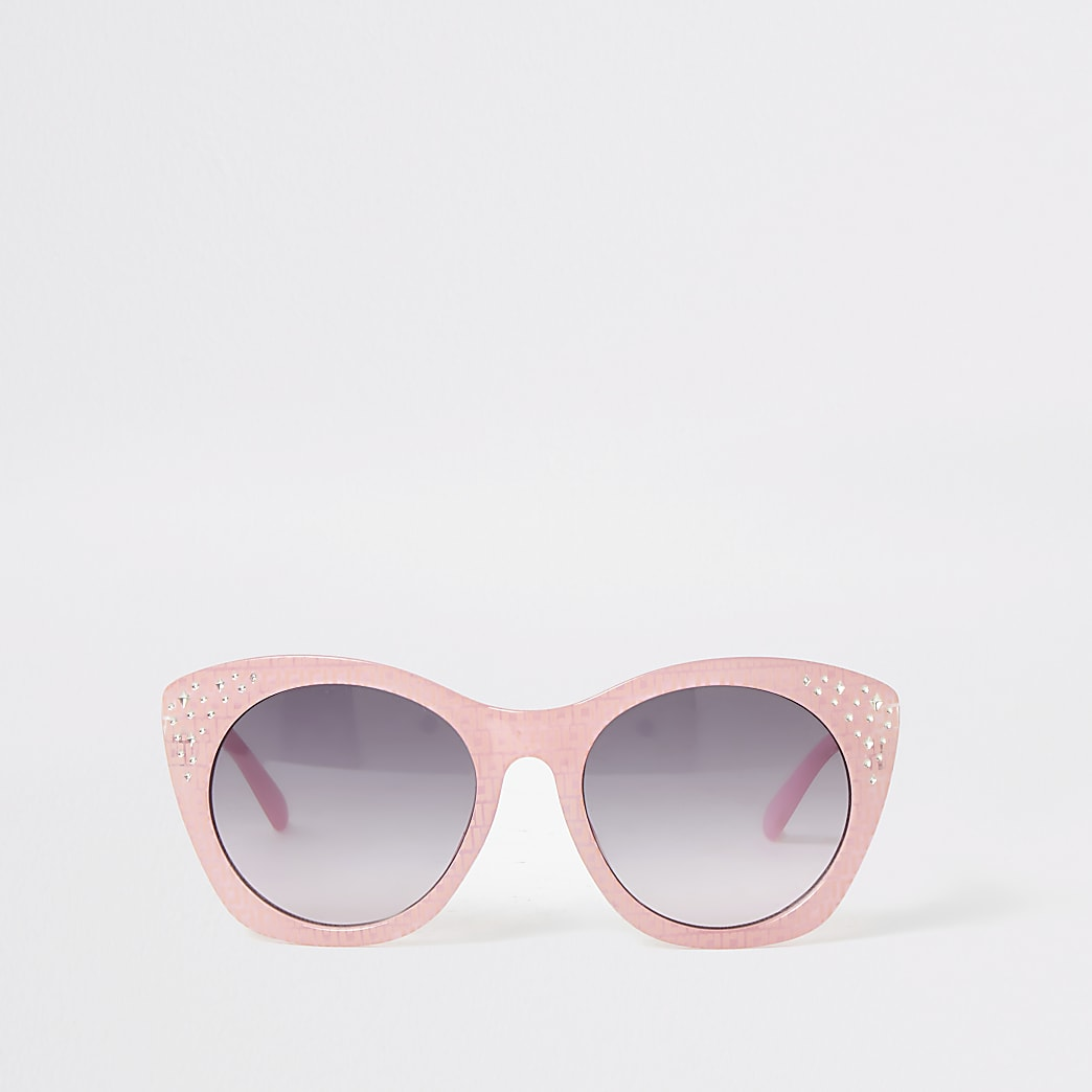 Girls pink RI embellished glam sunglasses