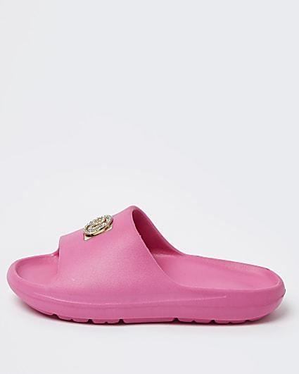 Girls pink RI embellished sliders