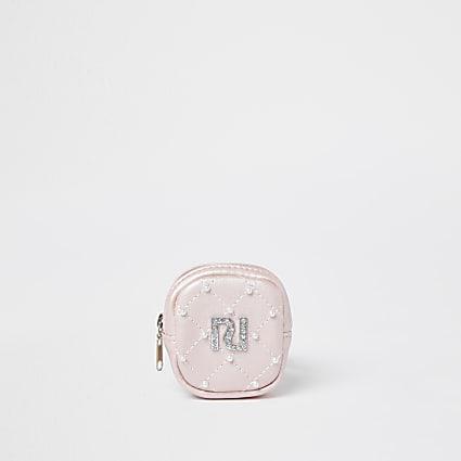 Girls pink RI embellished wrist purse