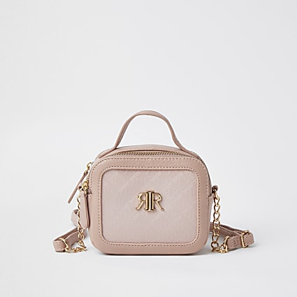 Girls pink RI embossed cross body bag