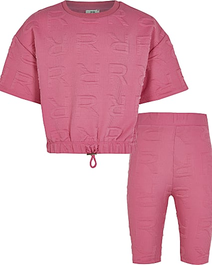Girls pink RI embossed cycling shorts outfit