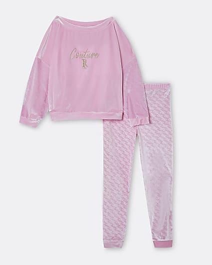 Girls pink RI embossed velour lounge set