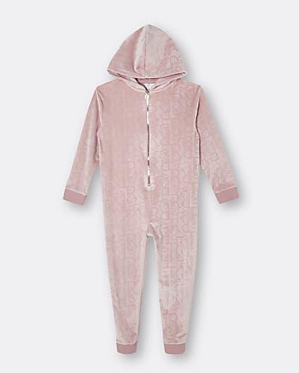 Girls pink RI embossed velour onesie