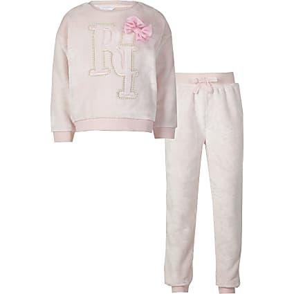 Girls pink RI fleece pyjamas set