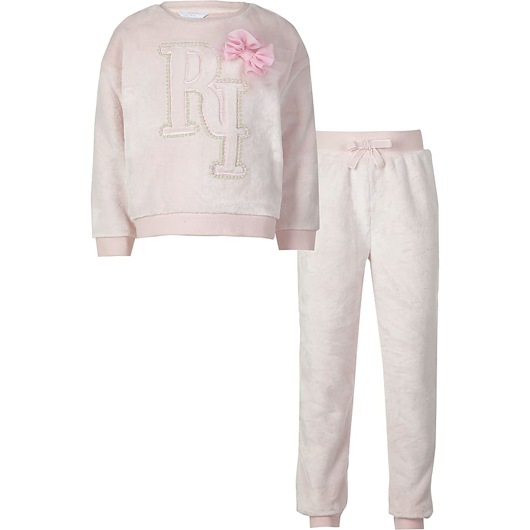 Girls pink RI fleece pyjamas set