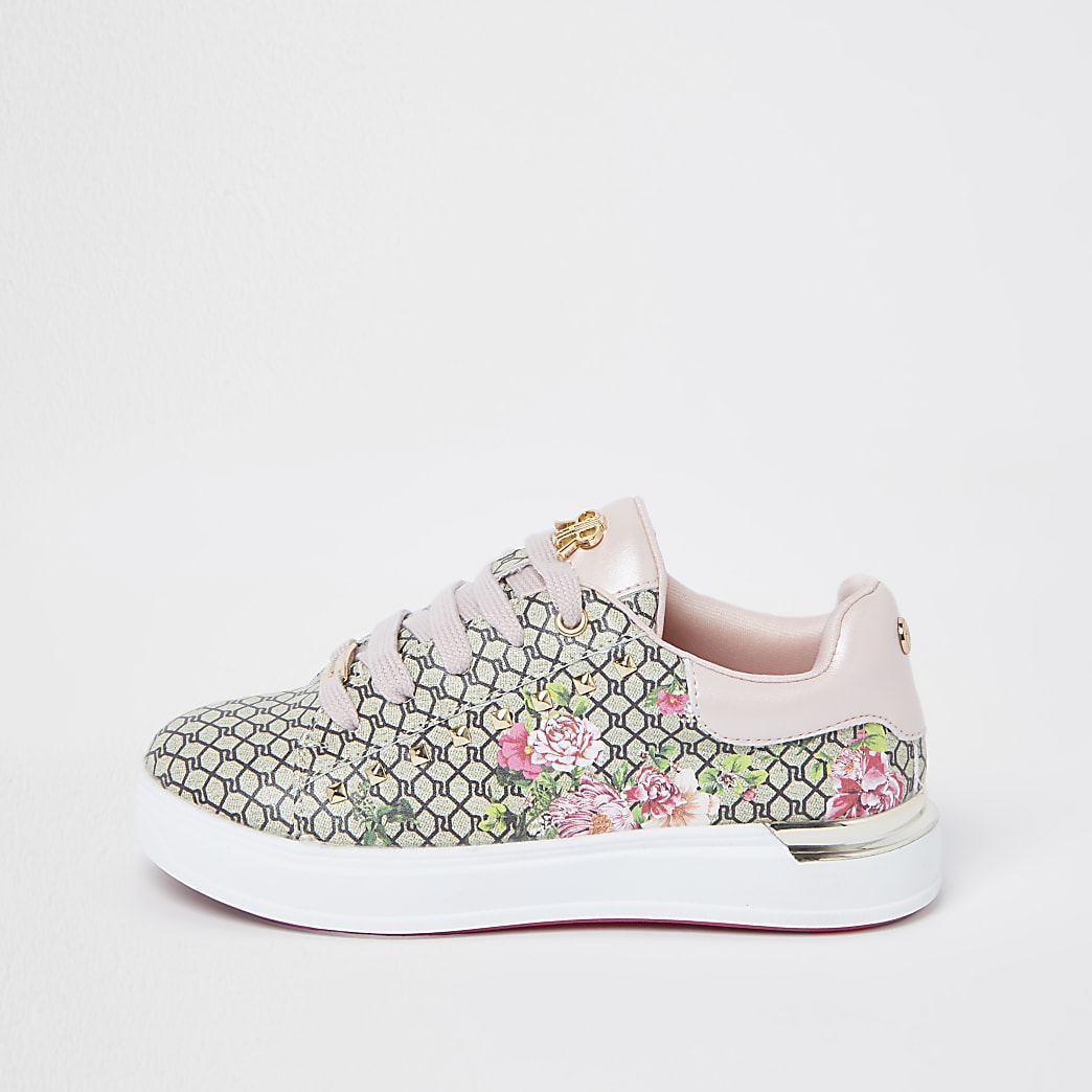 Girls pink RI floral monogram trainers