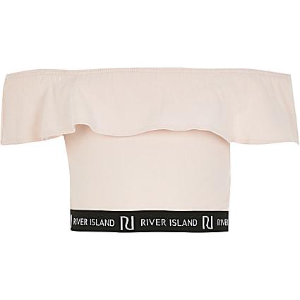 Girls pink RI frill bardot crop top