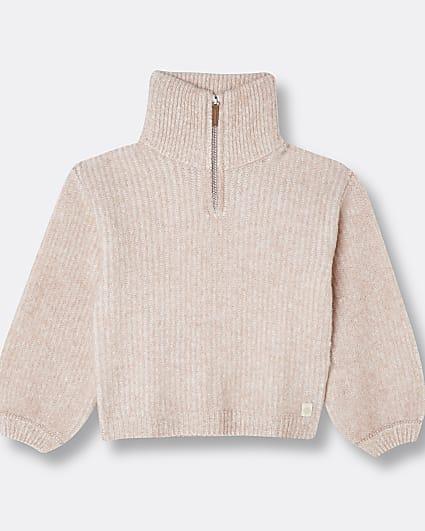 Girls pink RI funnel neck jumper