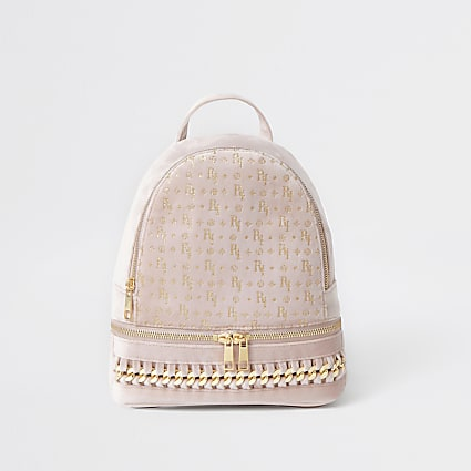 Girls pink RI glitter chain backpack