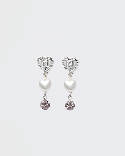 Girls pink RI heart drop clip on earrings