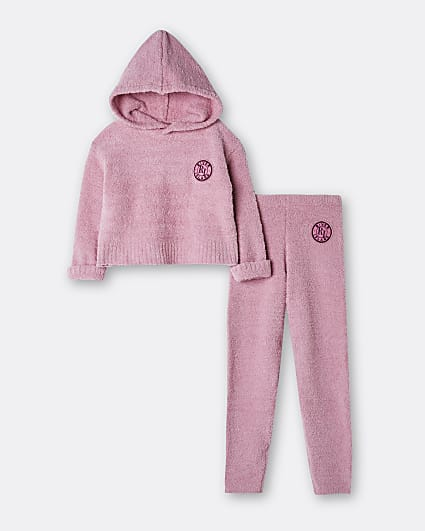Girls pink RI hoodie and jogger set
