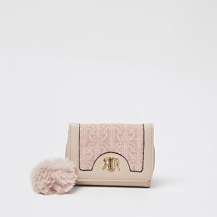 Girls pink RI jacquard monogram purse