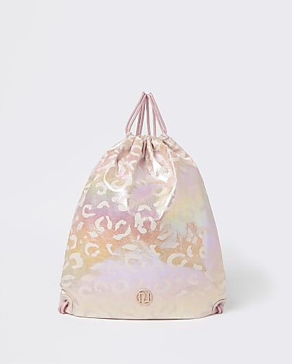 Girls pink RI leopard print drawstring bag