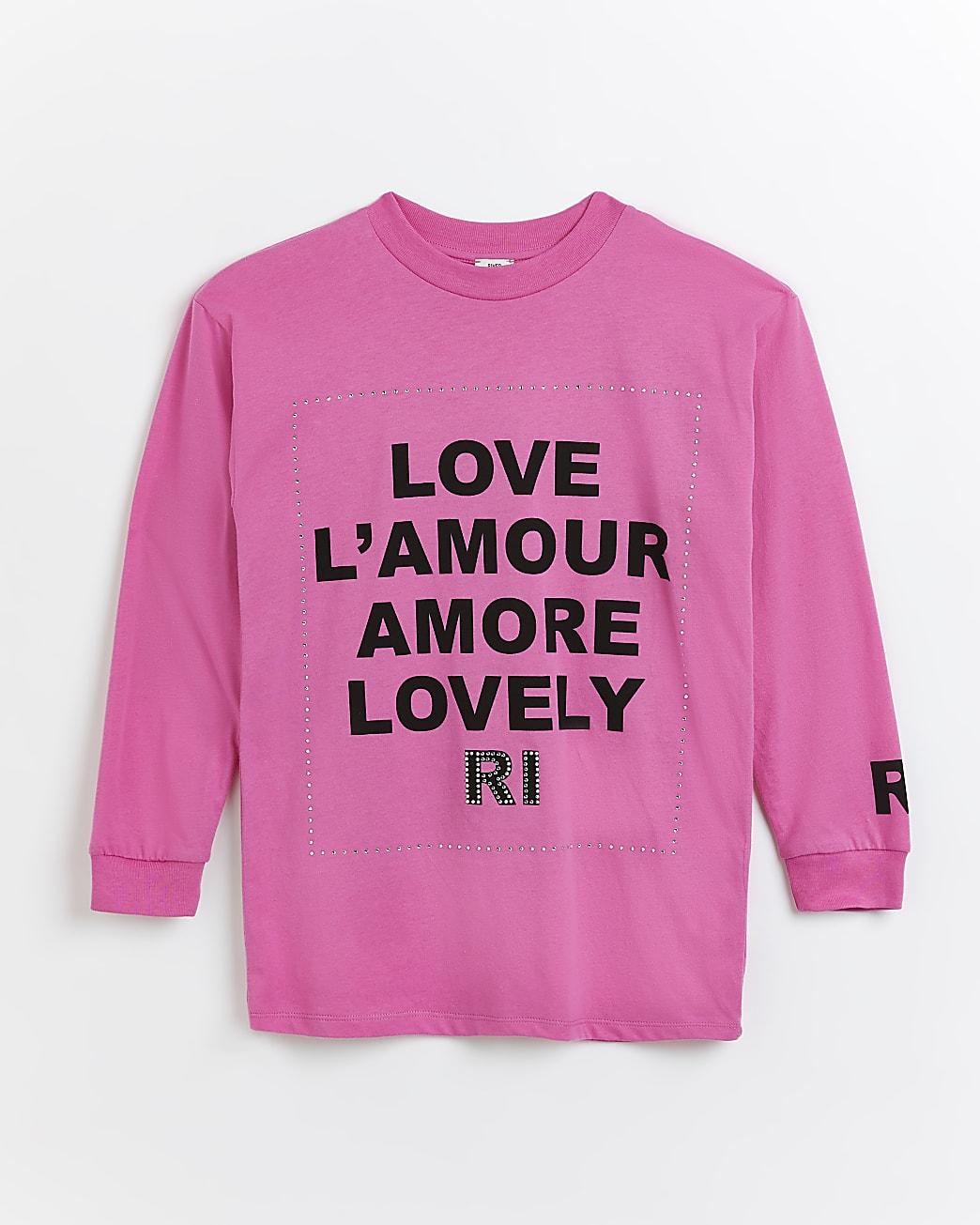 Girls pink RI 'Love A'mour' long sleeve top