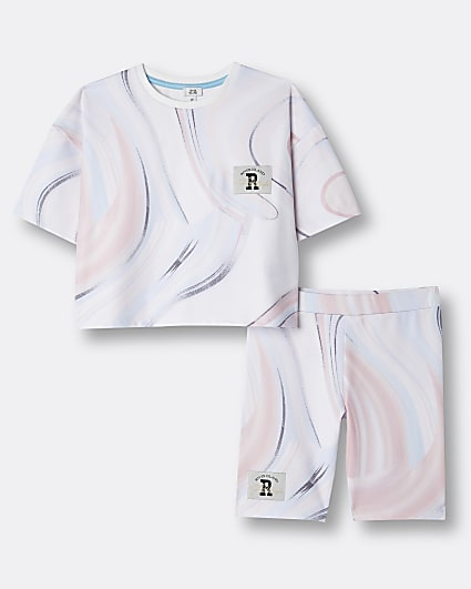 Girls pink RI marble print t-shirt outfit