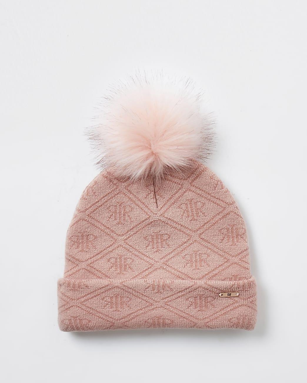 girls pink RI monogram beanie