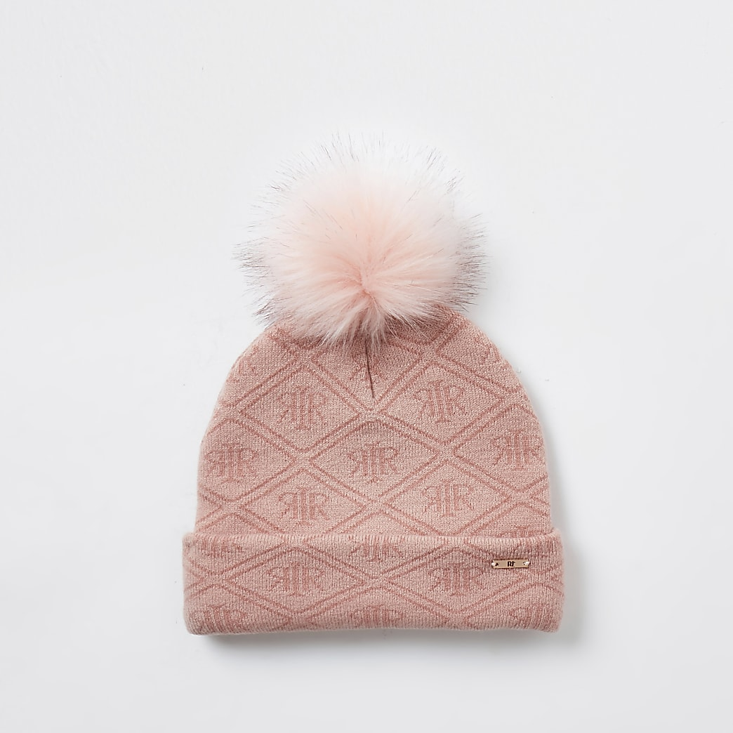 girls pink RI monogram beanie