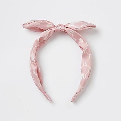 Girls pink RI monogram bow headband