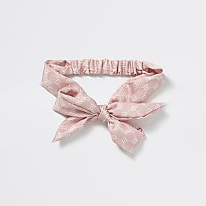 Roze hoofdband met RI-monogram en strik voor meisjes
