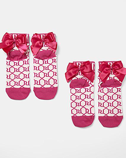 Girls pink RI monogram bow socks 2 pack