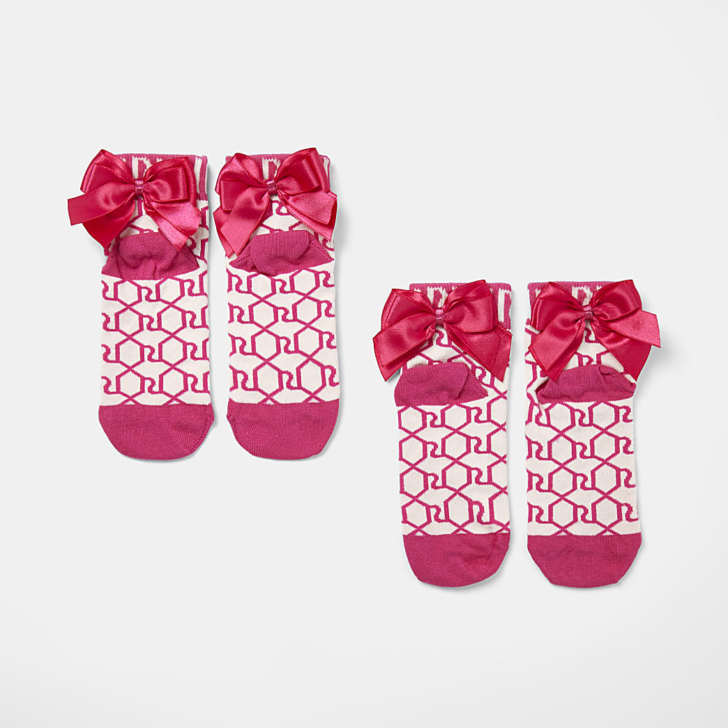 Girls pink RI monogram bow socks 2 pack