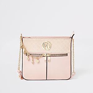 RI-Monogramm-Umhängetasche in Rosa mit Kettenschultergurt