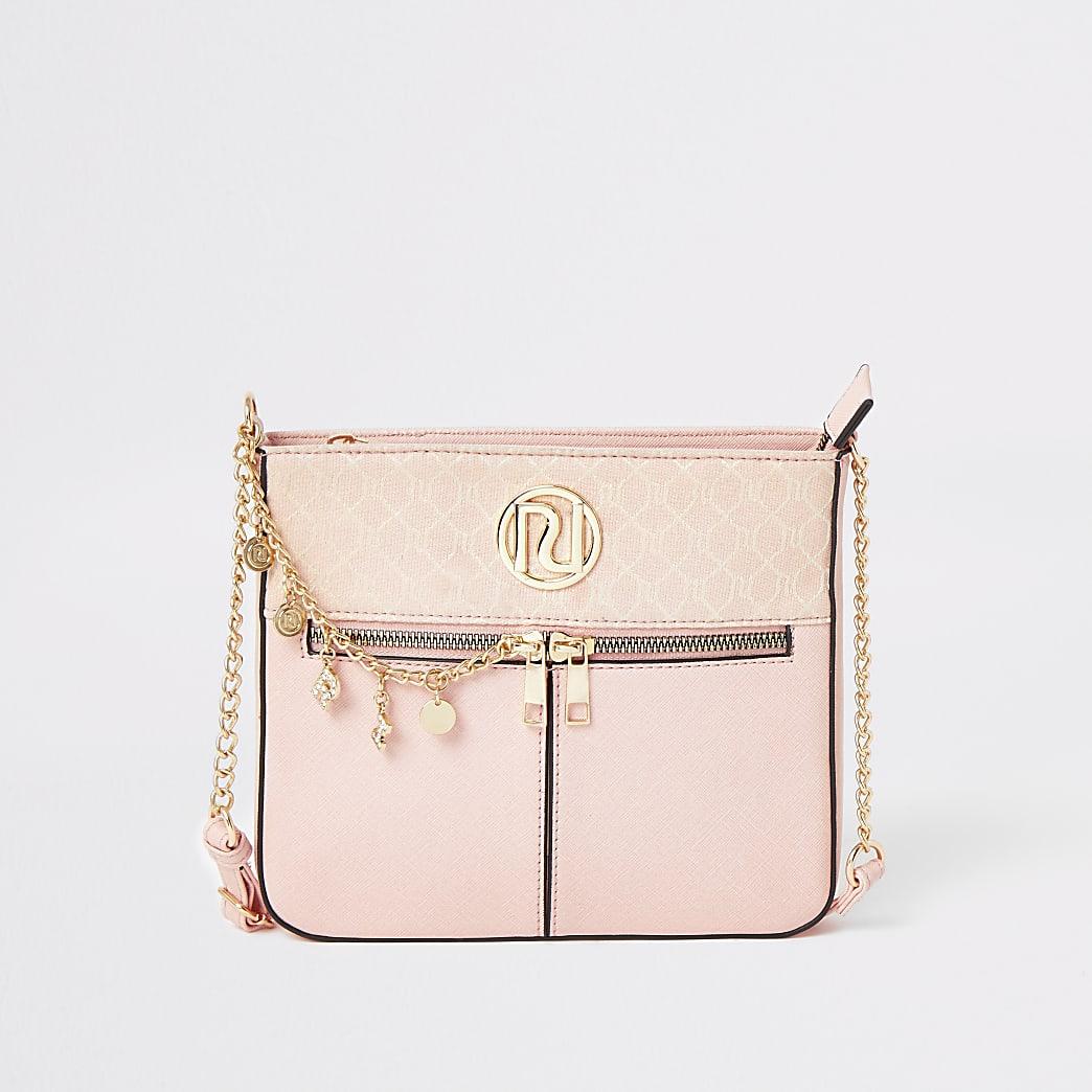 Roze crossbodytas met ketting en RI-monogram voor meisjes