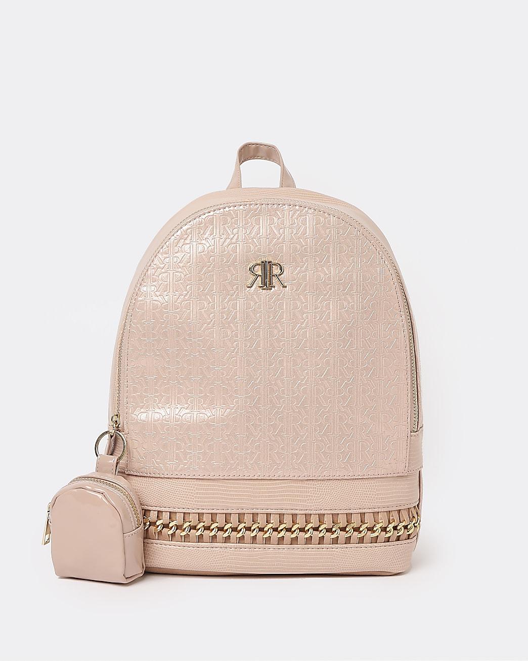Girls pink RI monogram chain trim backpack