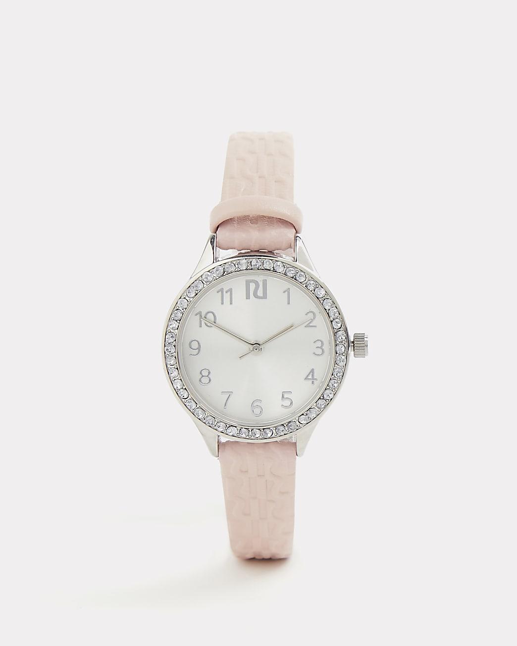 Girls pink RI monogram diamante watch