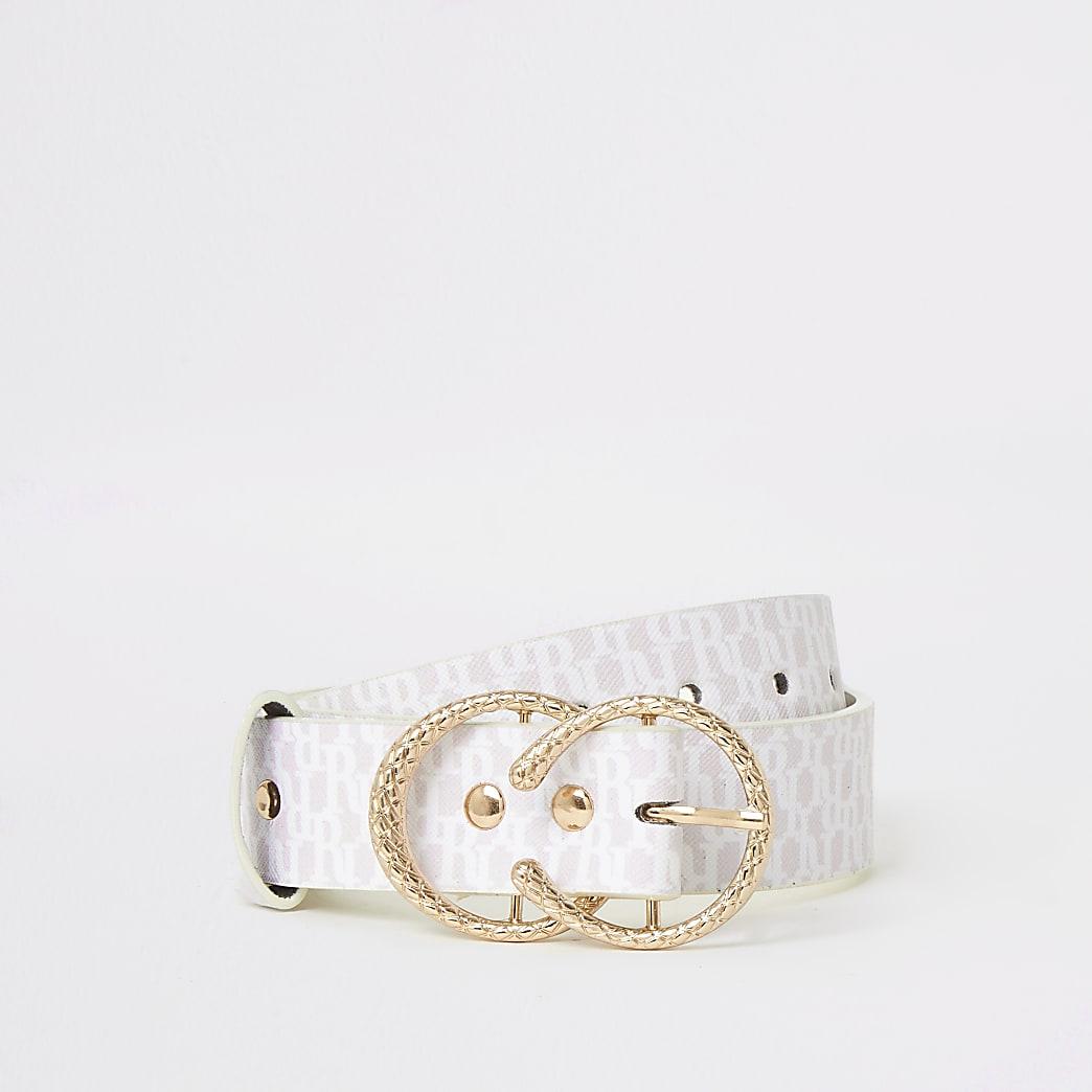 Roze riem met RI-monogram en twee ringen voor meisjes