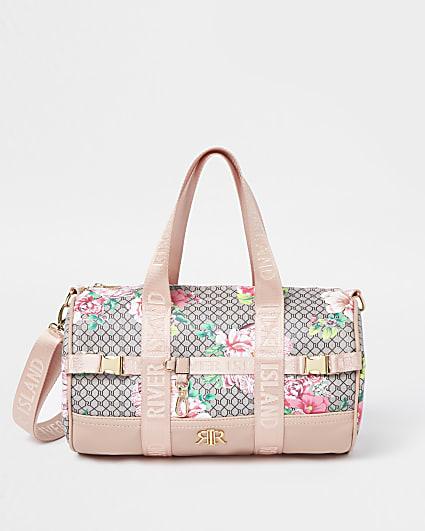 Girls pink RI monogram floral holdall bag