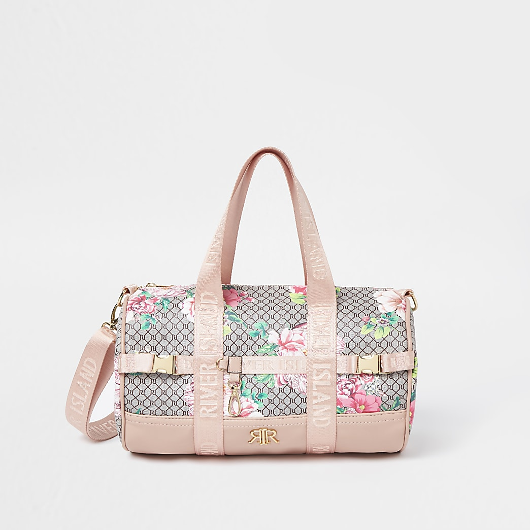 Girls pink RI monogram floral holdall bag