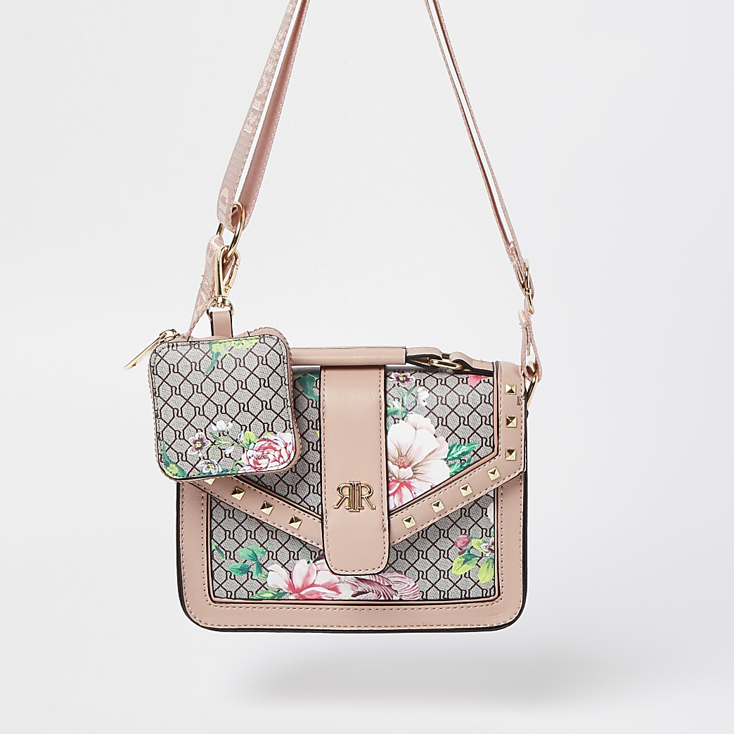 Girls pink RI monogram floral satchel bag