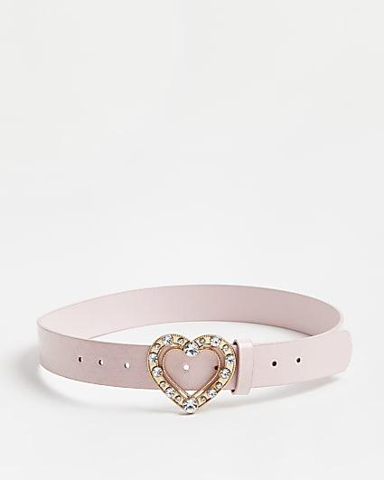 Girls pink RI monogram heart buckle belt